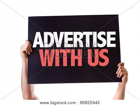 Advertise With Us card isolated on white