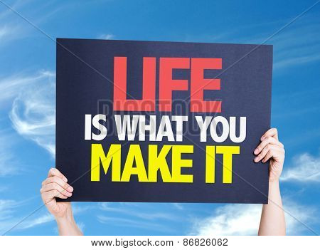Life Is What You Make It card with sky background