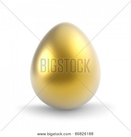 Single golden egg isolated on white background.