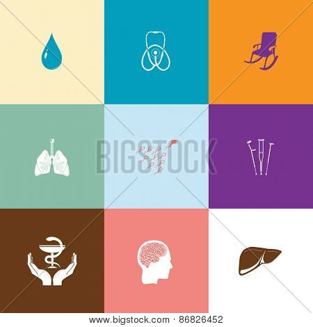 Medical set. Flat color raster icons.