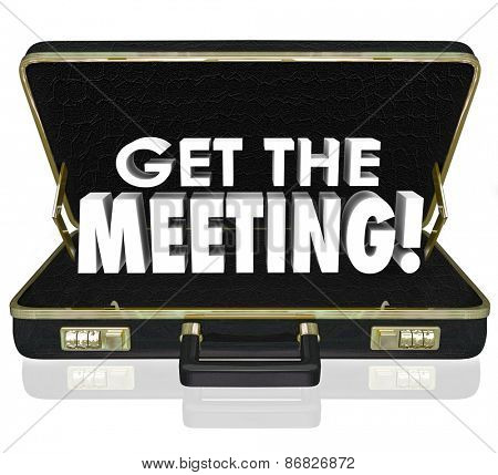 Get the Meeting 3d words in a black leather briefcase to illustrate having a conference or sales call with a new client or customer and delivering a presentation, proposal, contract or deal