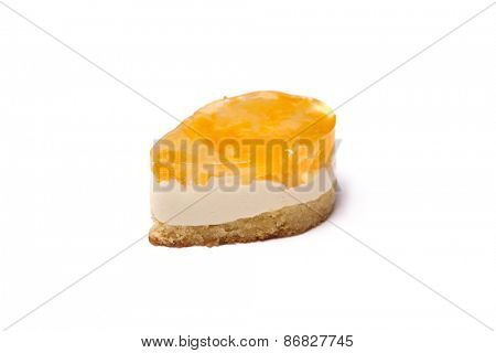 Cake with fruit jelly, isolated on white background