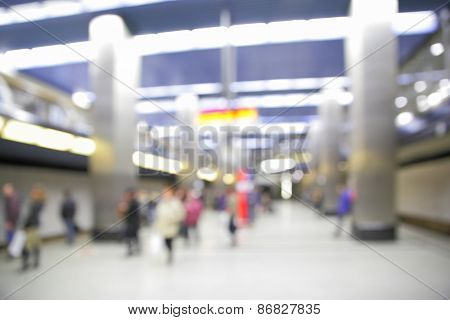 Background of subway station out of focus