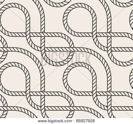 Abstract seamless background. Line pattern. Interweaving marine rope