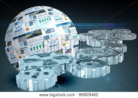 cogs and wheels against screen sphere showing business advertisement