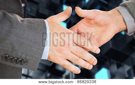 Two people going to shake their hands against blue and black tile design