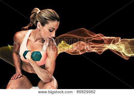 Strong woman doing bicep curl with blue dumbbell against blue design