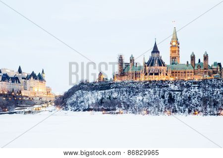 Canadian parliament hill in winter
