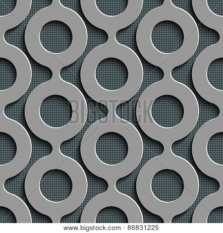 Seamless Damask Pattern. Curved Shapes Background. Gray Regular Texture