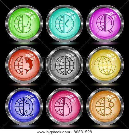 Globe set. Internet button. Raster illustration.