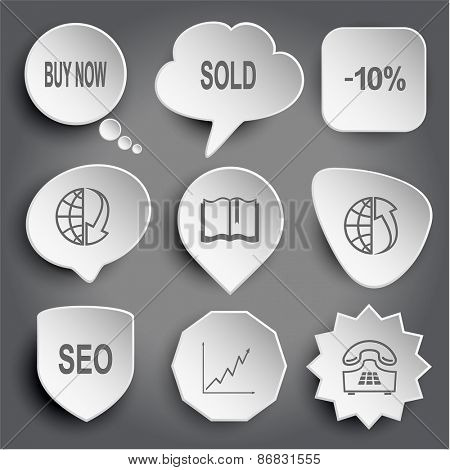 buy now, sold, -10%, globe and array down, book, globe and array up, seo, diagram, push-button telephone. White raster buttons on gray.