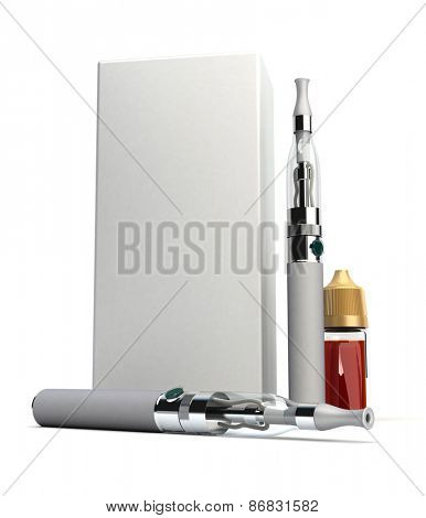 3D rendering of a pair of e-cigarettes with a box and a refill bottle