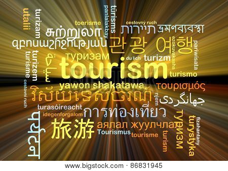 Background concept wordcloud multilanguage international many language illustration of tourism glowing light