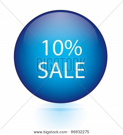 Sale ten percent blue circular button