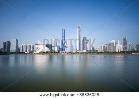 Guangzhou Skyline On Pearl Riverside