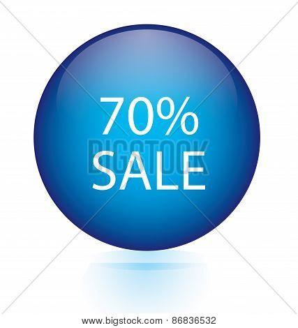 Sale seventy percent blue circular button