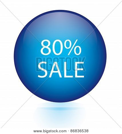 Sale eighty percent blue circular button
