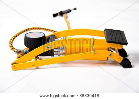 Yellow Foot Air Pump Isolated