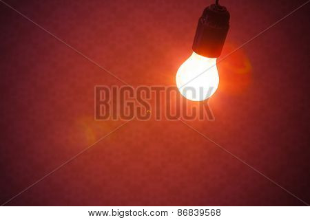 bulb lamp light on red background