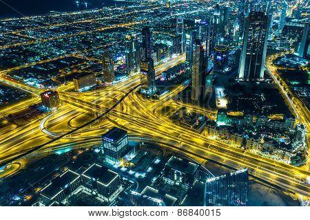 Dubai Downtown Night Scene With City Lights,