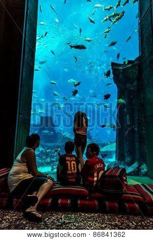 Huge Aquarium In A Hotel Atlantis In Dubai On The Palm Islands