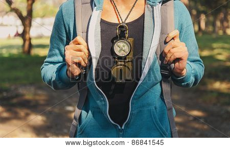 Traveler Girl With A Compass