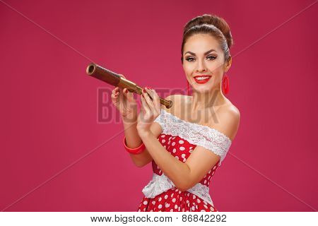 Happy Woman Holding Telescope. Pin-Up Retro style.