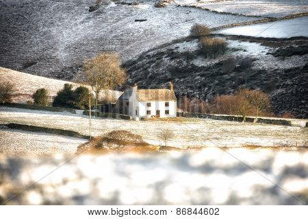 White House in a wintry field