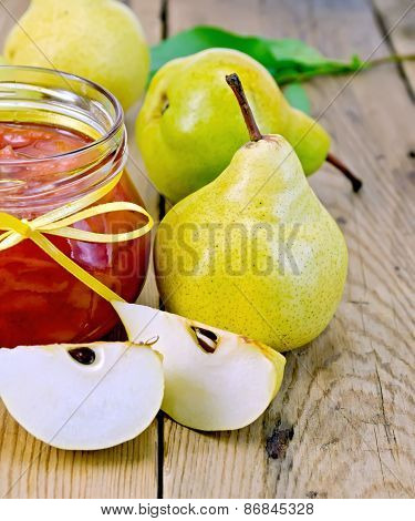 Jam pear on wooden board