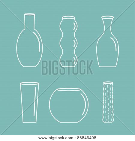 Vase Outline Icon Set Ceramic Pottery Glass Flower Decoration Blue Background Flat Design