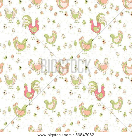 rooster hen and chicks seamless pattern. animals vector background