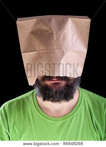 Bearded Man With Paper Bag On His Head Smiling