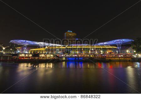 Cityscape riverside quay in Singapore.