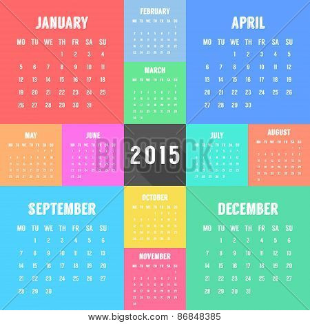 calendar of 2015 year with different colored months