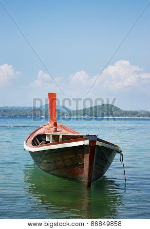 Wooden Boat On  Tropical Sea,  Phuket, Thailand