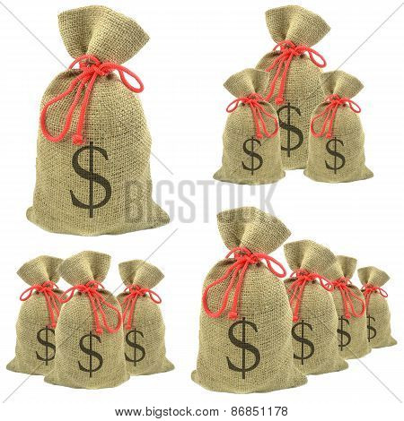 Bags of money with dollar currency