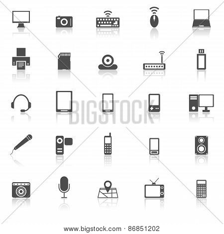 Gadget Icons With Reflect On White Background