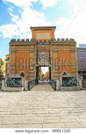 People Near The Ancient Gate Galliera (porta Galliera) In The City Of Bologna.