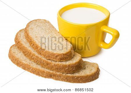 Slices Of Bran Bread And Cup Of Milk