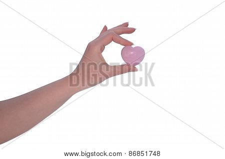 Hand Holding Rose Quartz Heart