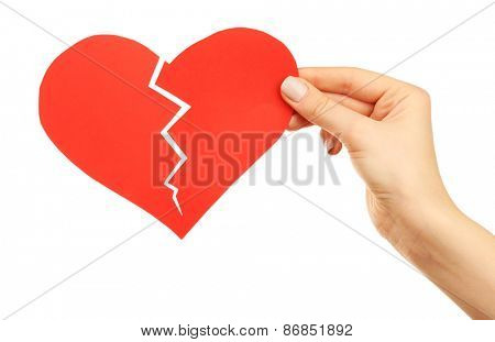 Female hand holding broken heart isolated on white
