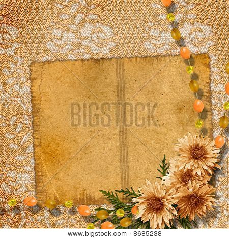 Elegant Framework For Invitation Or Congratulation On The Straw Background.