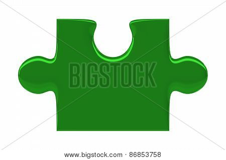 Green Puzzle Piece Isolated