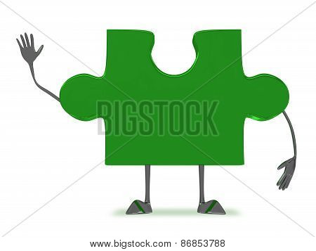 Green Puzzle Piece Character
