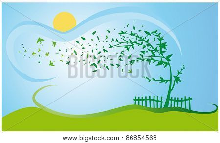 spring tree with flying swallows over country scene