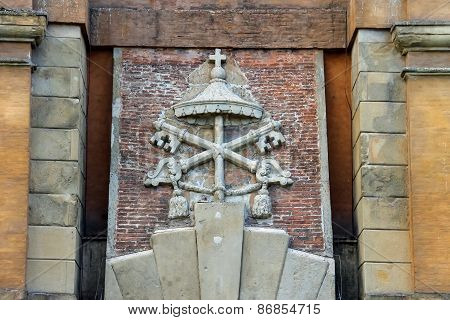 Coat Of Arms On The Ancient Gate Galliera (porta Galliera) In Bologna, Italy