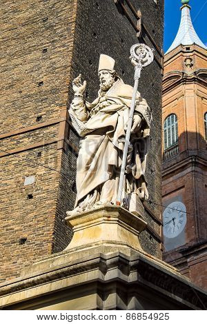 Statue Of Bishop St. Petronius In Bologna. Italy