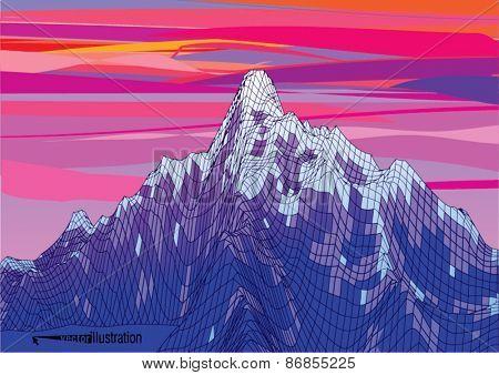 Snow rocky mountains on the sunset. Vector illustration