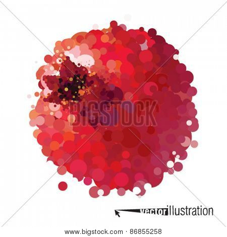 Vector pomegranate that consists of circles