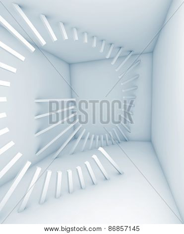 Abstract White Empty Room Interior With Helix Decoration